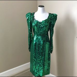 Vintage 80's Green Goddess Sequin Prom Dress